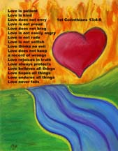 1st Corinthians 13 over artwork, Postcard by artist Angela Young