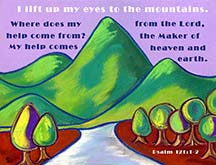 Scripture art postcard by artist Angela Young