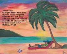 Rest in God postcard by artist Angela Young